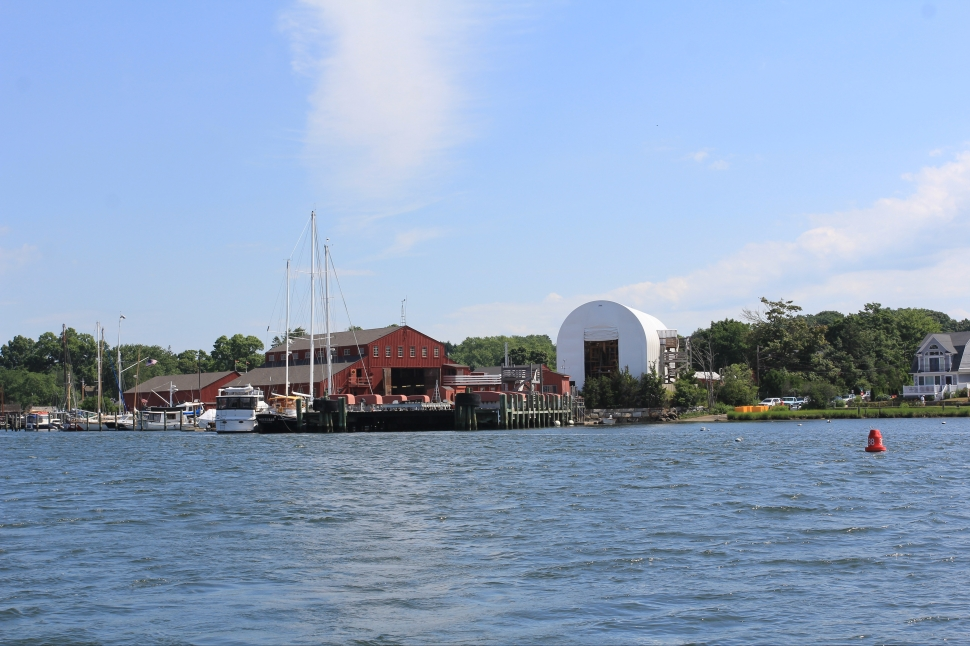 Approaching Mystic Seaport by boat
